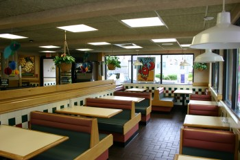 Empty booths at a local food diner