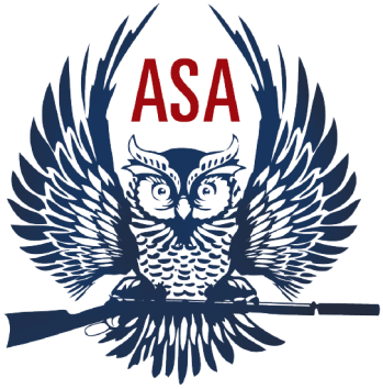 American Supressor Association winged owl holding a musket logo speaking about the new ATF Director