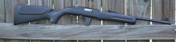 Rossi RS22 rifle on a fence post right profile