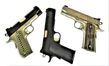Left to right: 9mm, 10mm and .45 pistols from Kimber.