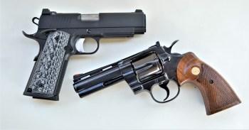 .45 ACP 1911 Commander above, 357 Magnum revolver below