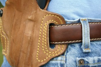 belt to loop fit on a leather pistol holster