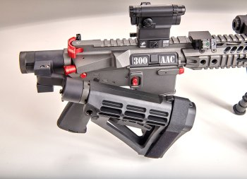 .300 AAC AR-15 rifle with folded Deadfoot adapter