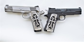 Engraved silver side plate grips for the 1911 pistol