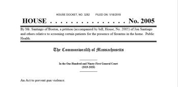 Screenshot of a proposed gun bill in Massachusetts