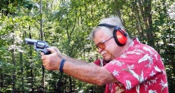 Bob Campbell shooting a round butt .44 Combat Magnum revolver