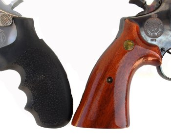 Round butt Smith and Wesson on left and square butt on right