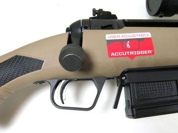 flat bolt knob on a rifle