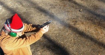 Bob Campbell shooting the Guardian pistol in rapid fire