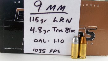 Missouri Bullet 115-grain RNL lead bullet with handwritten load data card