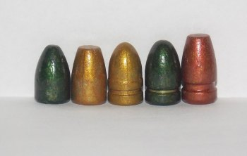 Lead bullets left to right- Bayou Bullets 115-grain, 125-grain TCB, 125-grain RNL, 135-grain RNL, and 147-grain FP.
