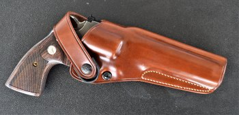 Brown leather Galco DAO holster
