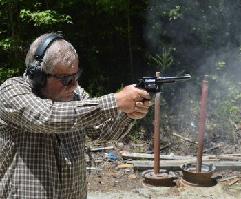 Bob Campbell shooting a Smith and Wesson model 1937 revolver