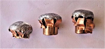 Side view of upset 25-, 158- and 180-grain Hornady XTP bullets