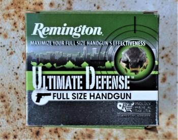 Box of Remington Ultimate Defense handgun ammunition
