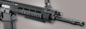 Quad Picatinny rail on a rifle