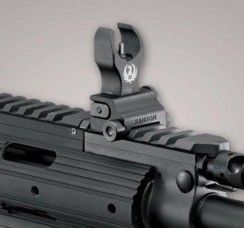 Flip up iron sight on a rifle