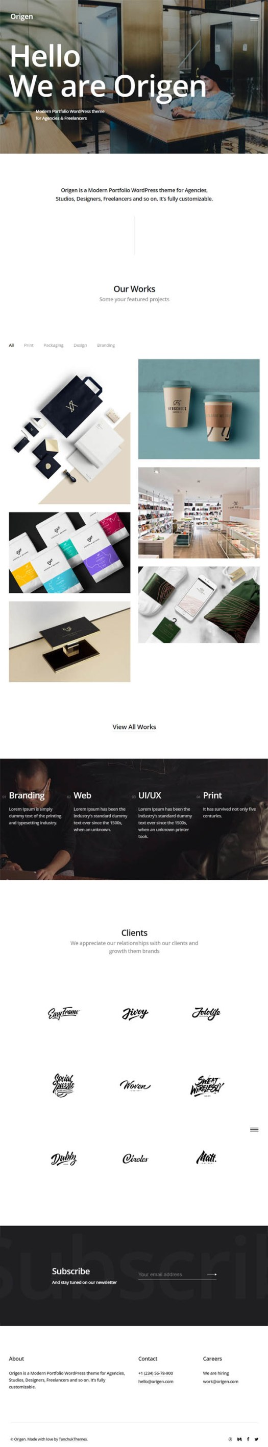 Origen – Modern Portfolio WordPress Theme for Freelancers & Agencies