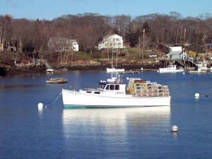 A Maine lobster boat at anchor at the end of a day's work.