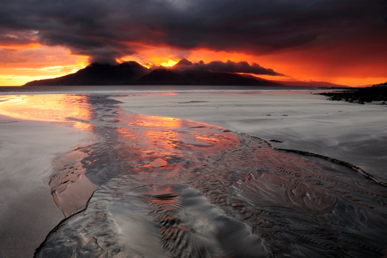 Sunset over Rum, Bay of Laig, Isle of Eigg