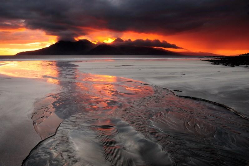 Sunset over Rum, Bay of Laig, Isle of Eigg