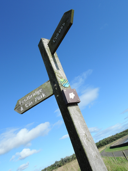 Mile 5 - Fife Coastal Path waymarker. Sponsored by Sam and Emily Hesling.