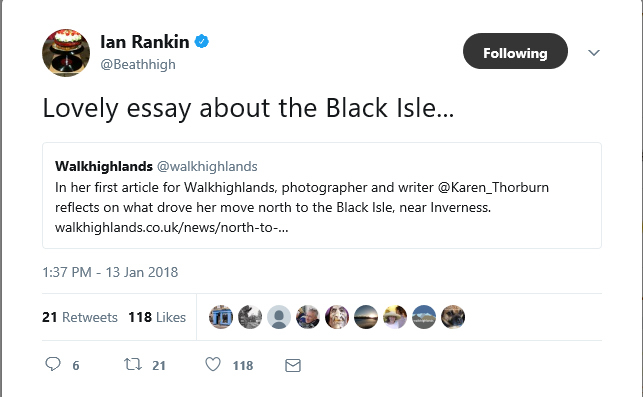 Screenshot of a tweet by author Iain Rankin promoting an article on the Black Isle written by Scottish blogger Karen Thorburn