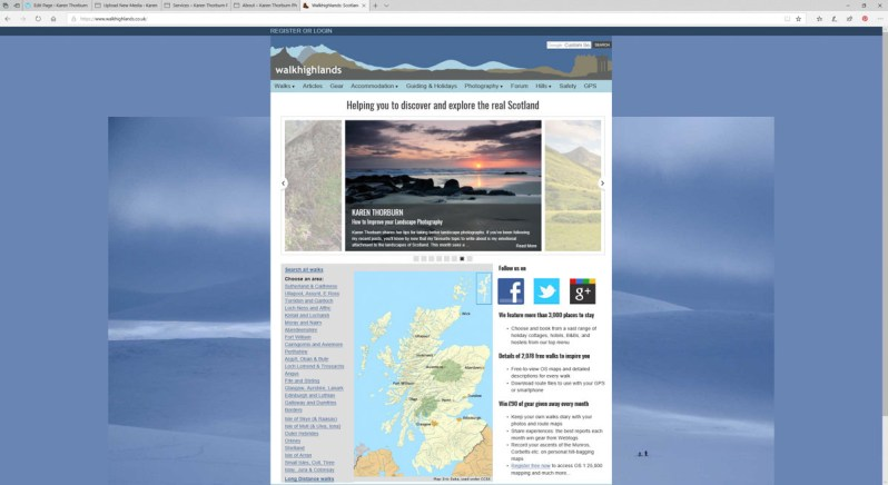 A screenshot of a website showing a pink sunset over a beach with sand and rocks, with a map of Scotland shown below