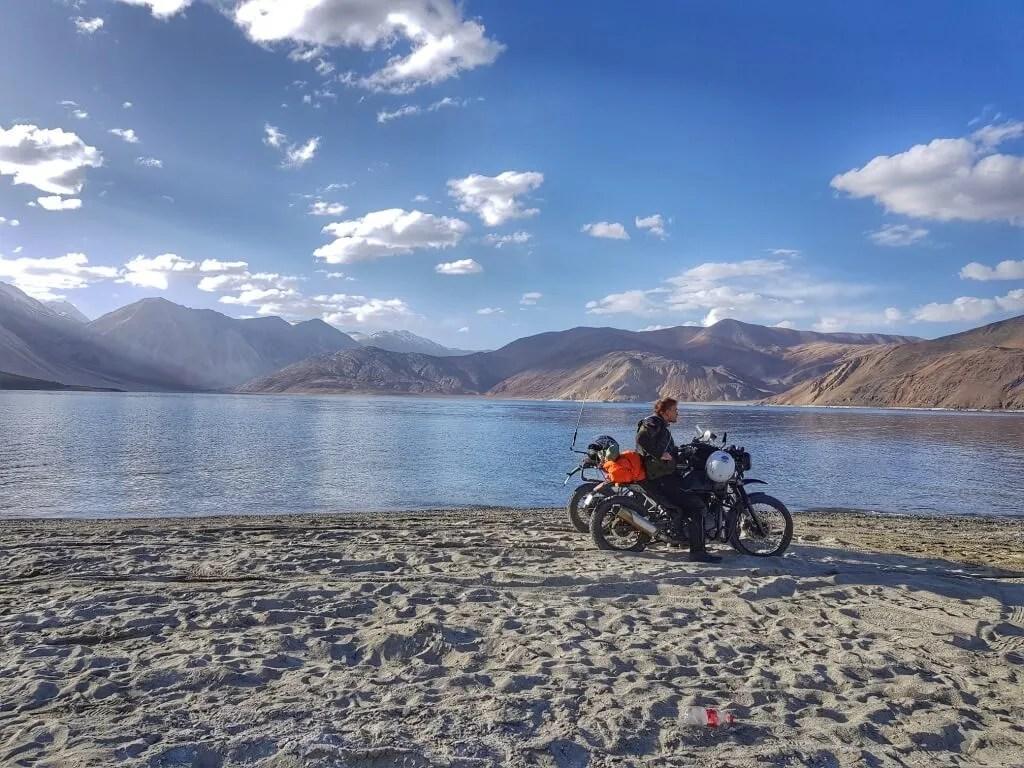 Me and my Royal Enfield Himalayan beside Pangong Lake. Photo © Karl Rock, all rights reserved.