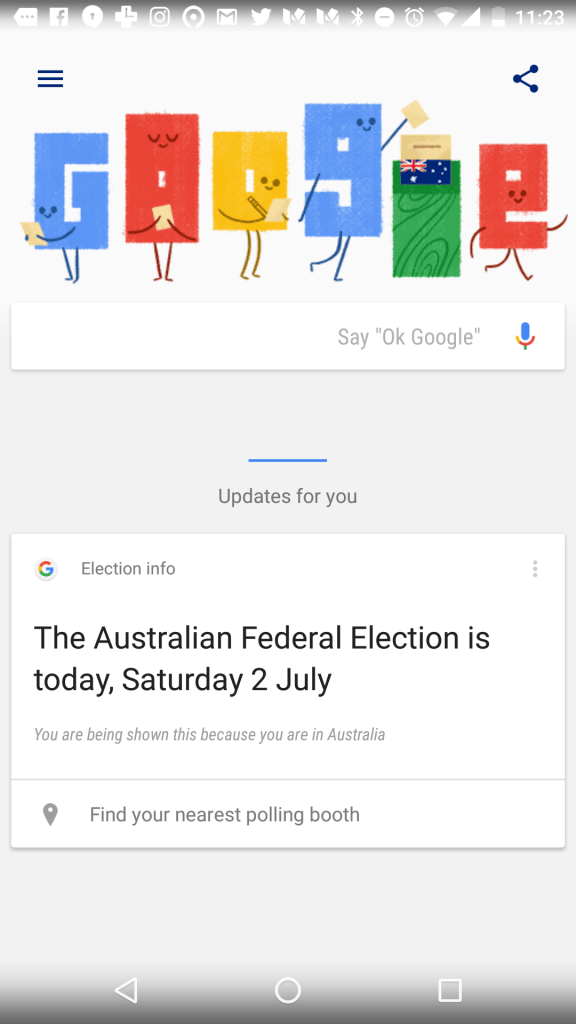 Google Now tile for the Australian Federal Election 2016