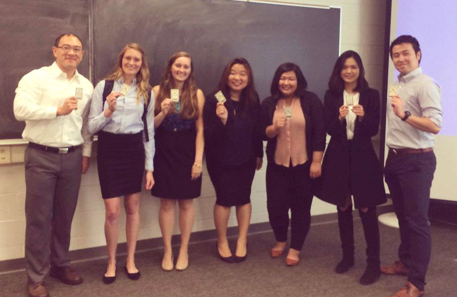 Dr. Wei-Chung Wang extraordinaire (far left), Professor by day, VP of Global Marketing and Strategy by night, with Senior Seminar students.