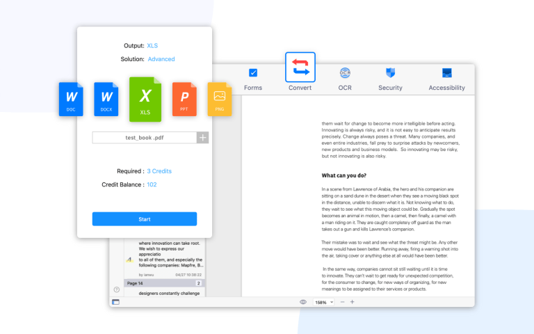 Convert PDFs to Office documents and more using PDF Reader's built-in converter