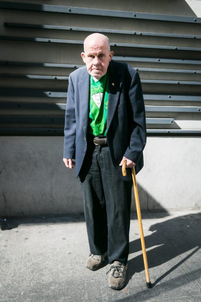 Old man at the 2016 St. Patrick's Day Parade in NYC by photojournalist, Kelly Williams