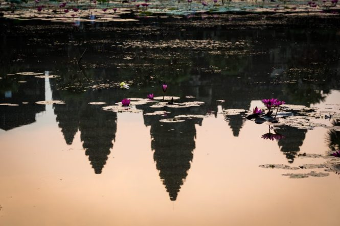 Angkor Wat sunrise reflected in pond