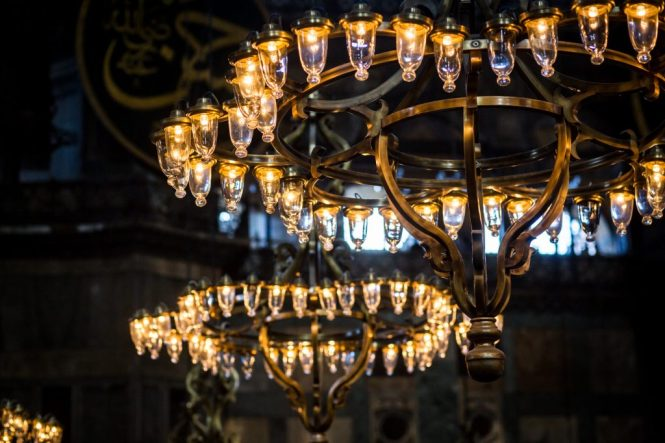 Hagia Sophia chandeliers for an article on Istanbul street photos