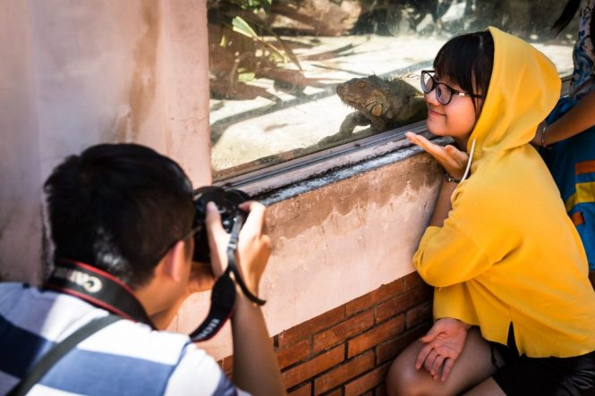 Girl taking selfie with lizard at the Saigon Zoo and Botanical Garden for article on Ho Chi Minh City street photos