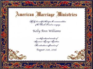 Officiant certificate from online church by NYC wedding photojournalist, Kelly Williams