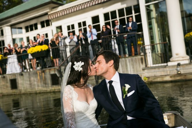 Bride and groom in a Central Park rowboat