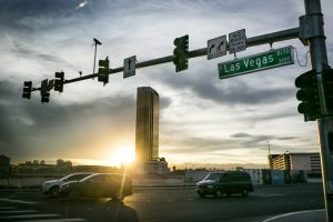 Sunset over the Trump Tower in Las Vegas
