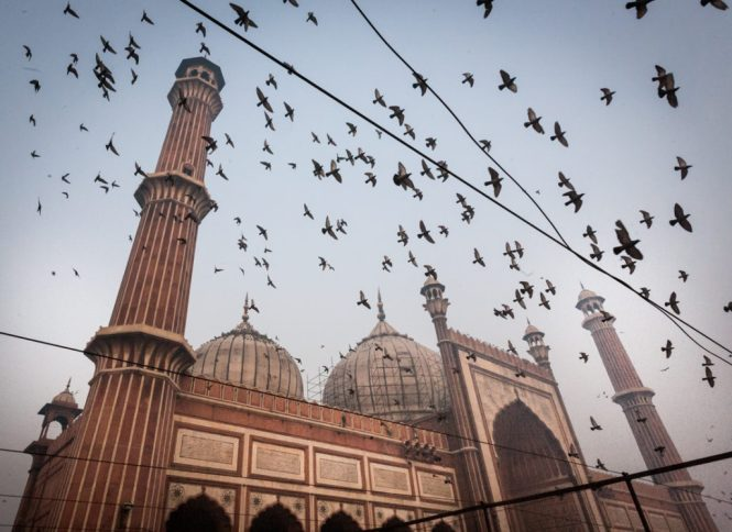 India street photography featuring the Jama Masjid in Delhi