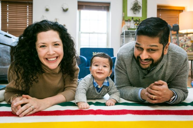 Family portrait for an article on indoor baby portrait tips