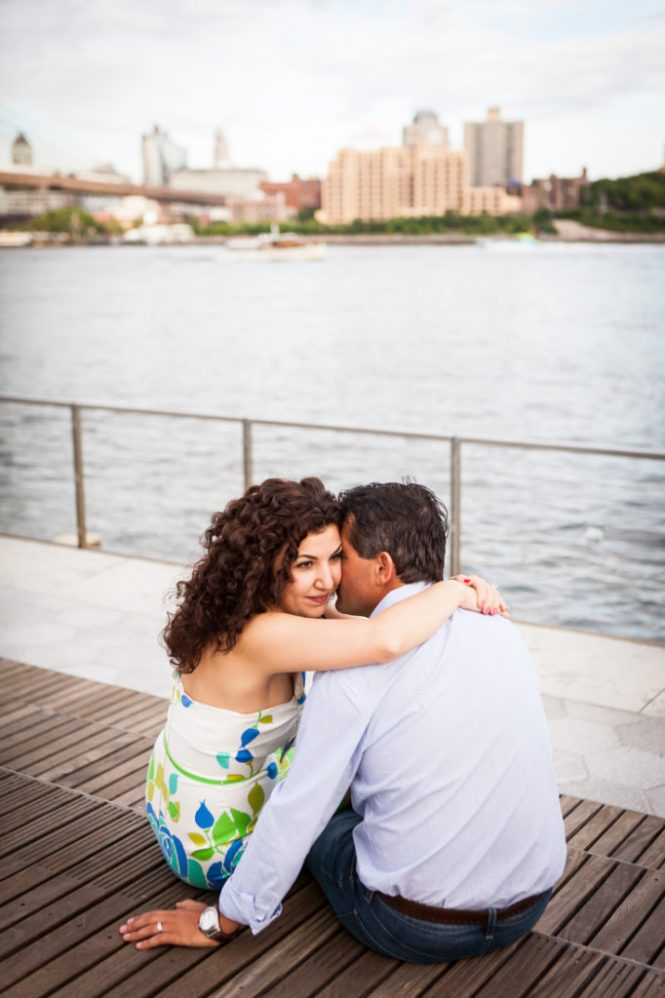 Couple at South Street Seaport for an article on best engagement photos
