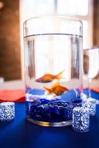 Goldfish centerpiece by bar mitzvah photographer, Kelly Williams