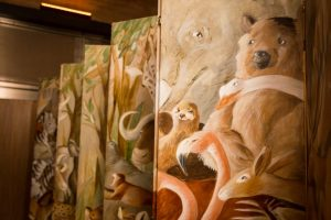 Wall partition for a Bronx Zoo wedding