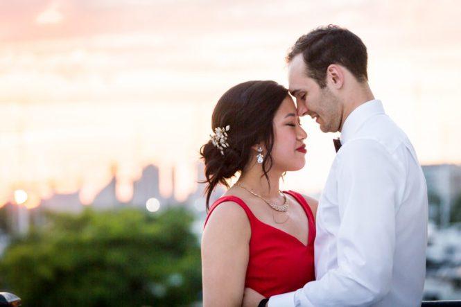 Sunset portrait at a Maritime Parc wedding