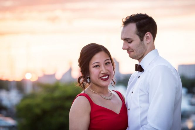Sunset portrait at a Maritime Parc wedding