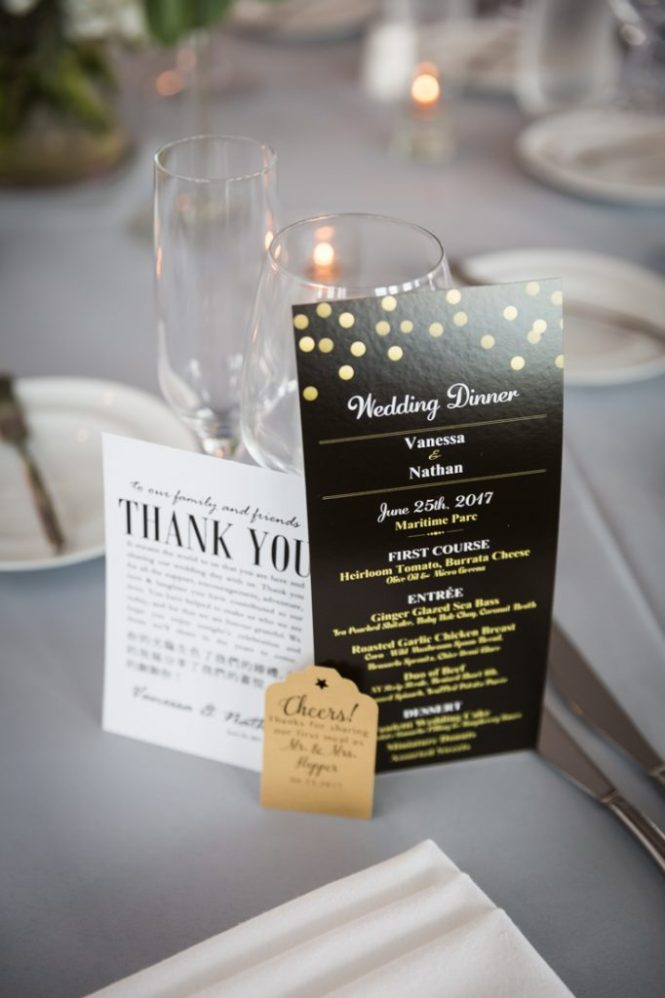 Menu cards as a wedding DIY project