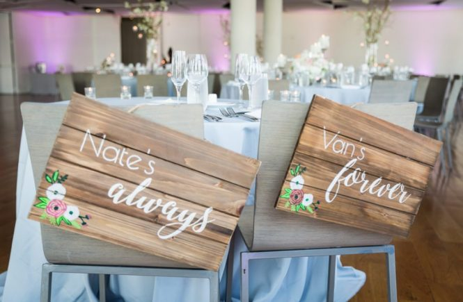 Bride and groom signs as a wedding DIY project