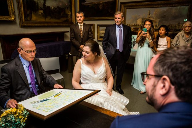 Ketubah signing at a Brooklyn Historical Society wedding