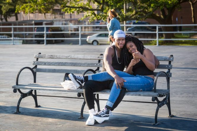 Lovers taking a selfie on the Coney Island boardwalk